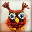 "Owl Mini-Buddy ""Ollie"" all ready for his new home."